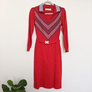 70s Retro Knit long sleeve dress